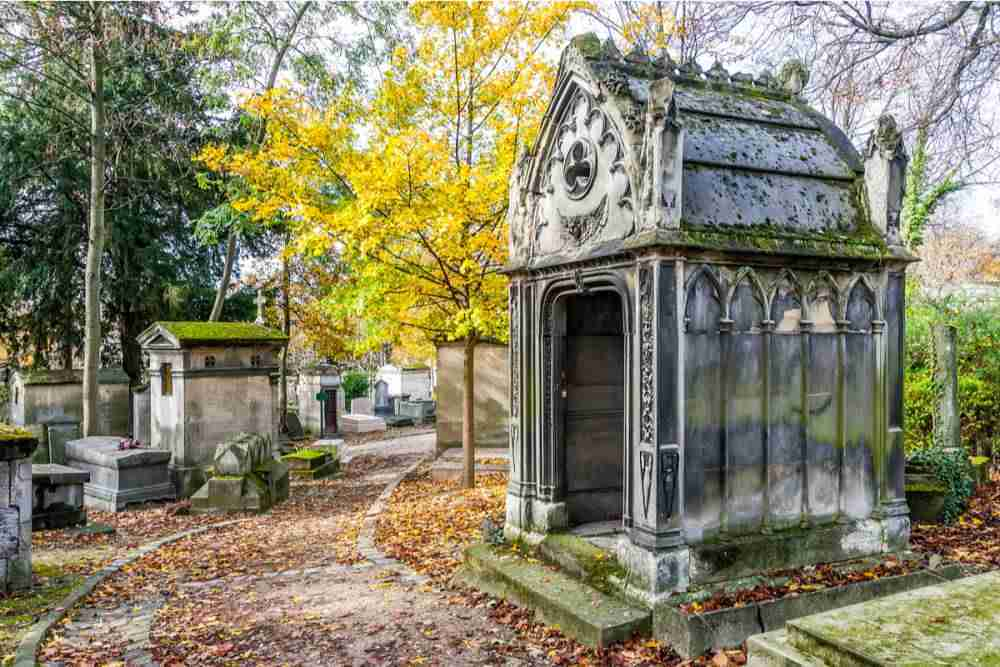 The Pere Lachaise cemetery in Paris in France