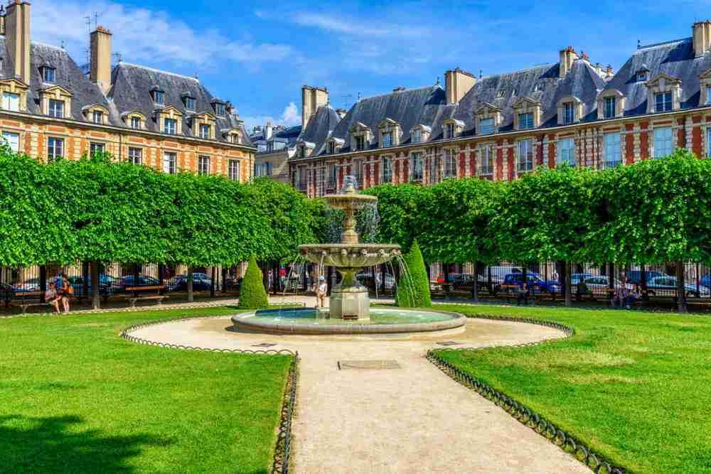 The Vosges Square in Paris in France