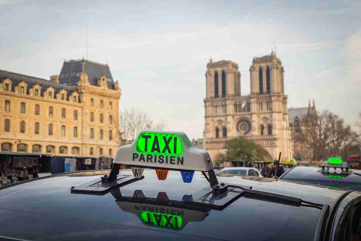 Taxi in Paris in France
