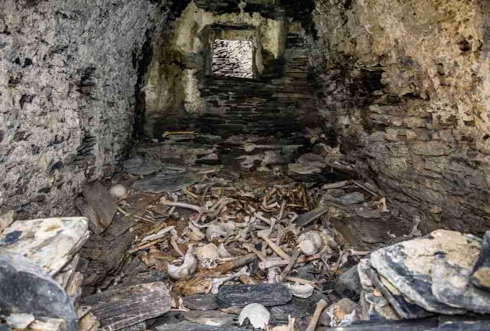 Human bones Catacombs in Paris in France