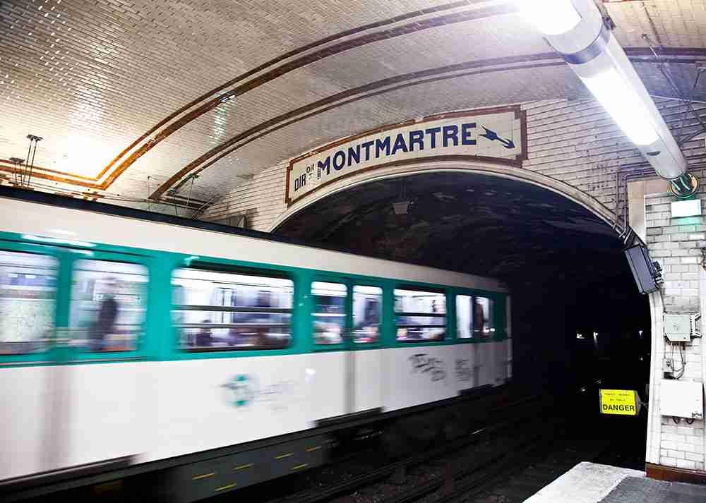 Montmartre metro station in paris in france