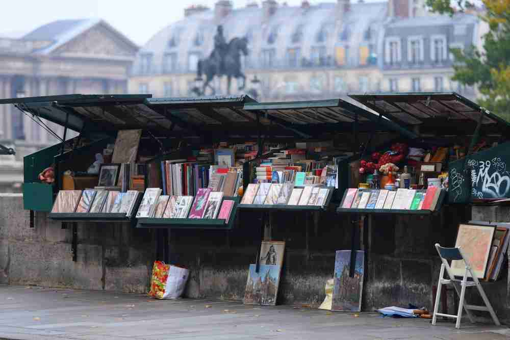 Pont Neuf Booksellers in Paris in France