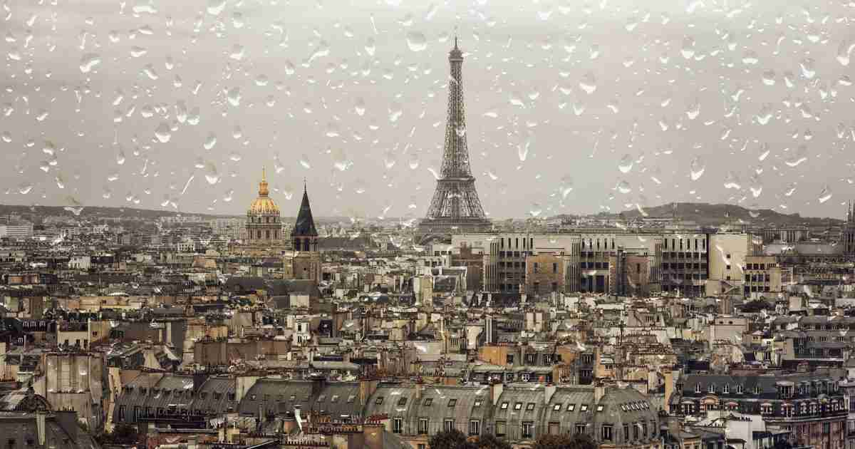 Rainy day in Paris in France