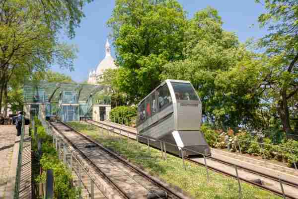 Montmartre Funicular in Paris in France