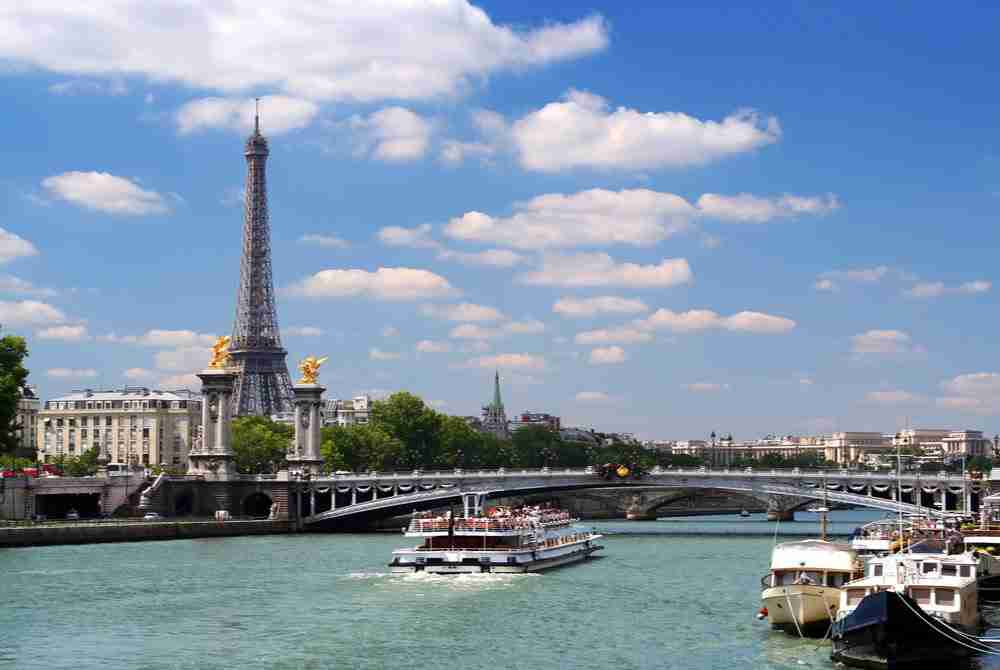 boat tour on Seine in Paris in France
