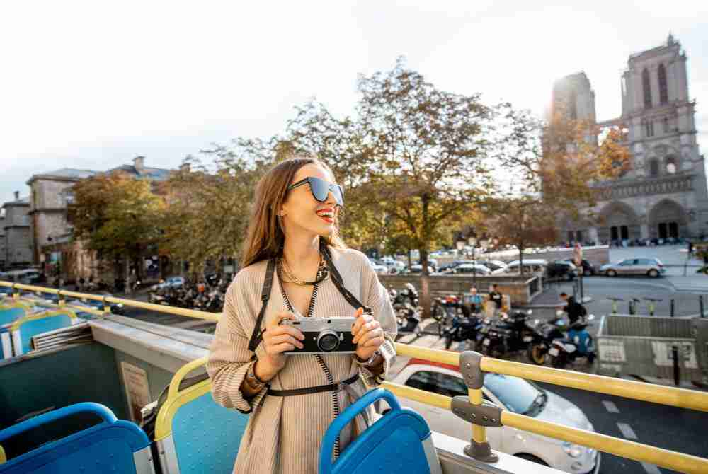 hop-on hop-off bus in Paris in France